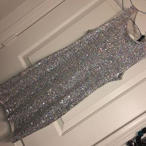 Silver Iridescent Sequin Short mini dress
